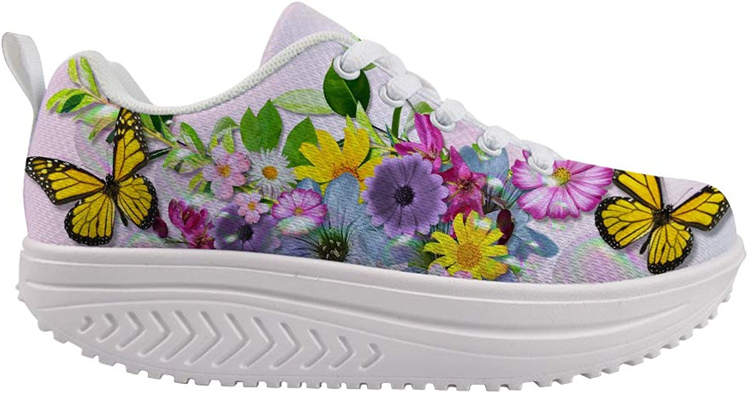 Owaheson Swing Platform Toning Fitness Casual Walking shoes Wedge Sneaker Women Illinois Monarch Butterfly Bright Flowers