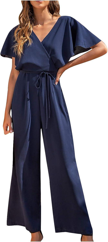Forwelly Summer Jumpsuit for Women Elegant Summer Short Sleeve V Neck Wide Leg Pant Romper Formal Work Jumpsuit