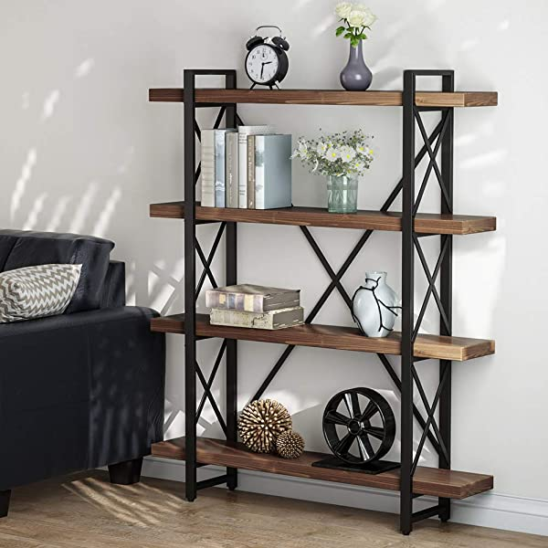 LITTLE TREE 47 2 Inches Solid Wood 4 Tier Shelf Bookcase Vintage Industrial Wood Metal Book Shelves For Home And Office Organizer Bookshelf Retro Brown