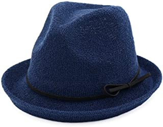 PengCheng Pang Women Jazz Straw Hat Curling Sun Hat Spring Fedora Hat Summer Lady Tide Models Wild Travel Hat Bow Beach Hat (Color : Navy Blue, Size : 56-58CM)