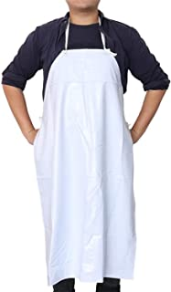 Work Apron Heavy Duty Waterproof Anti Oil Kitchen Apron Unisex Garden Tool for Butchers Kitchen Cooking Aprons,White