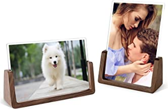 Picture Frame 2 Pack - Rustic Wooden Photo Frames with Walnut Wood Base and High Definition Break Free Acrylic Glass Cover...