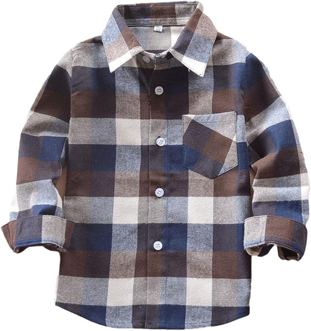 AMEBELLE Toddler Boy Girl Unisex Lapel Long Sleeve Button Up Plaid Cotton Shirts