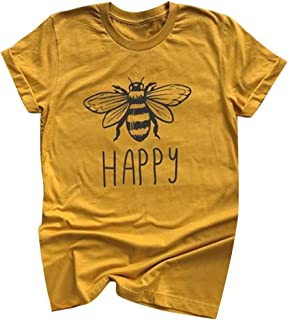 Shusuen Bees Shirt Tees for Women Letter Print Environment Shirts Summer Casual Beekeeping Tops