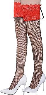 Medias de Rejillas Negras Fantasía para Mujeres, VicSec Sexy Red Calcetines Altos hasta Rodillas Erótica Vendaje Top Encaje Vintage Ajustable Novias Colores Opcionales
