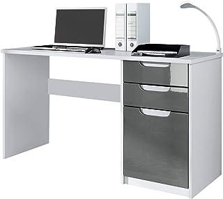 Vladon Bureau Table Informatique Logan, Corps en Blanc Mat/Façades en Gris Haute Brillance
