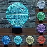 Lampara LED Star Wars Estrella de la Muerte Cambia Color USB Luz Nocturna