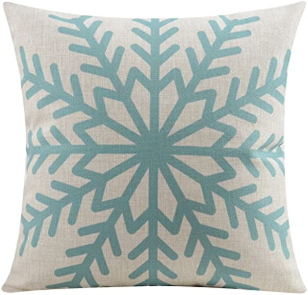 Cotton Linen Scandinavian Modern Geometric Abstract Snowflake Pattern Merry Christmas Gifts Pillow Case Cushion Cover Decorative Sofa Bedroom And Living Room Lightskyblue