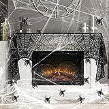 KATELUO Set de Decoración de Halloween Contiene 2pcs telaraña elástica&Una Tela de Encaje Negro&30 Araña de plástico Mediana para adornar Halloween de Fiesta casa a Crear un Ambiente espelunante