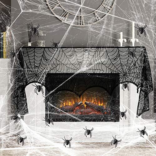 KATELUO 33tlg Halloween Spinnennetz Deko Set,Grusel Deko Set Schwarz Spitze Spinnennetz Kamin Tür Dekostoff&2 Pakete 60g Spinnweben und 30 Spinnen Horror für von Tisch,Haus und die Halloween Party