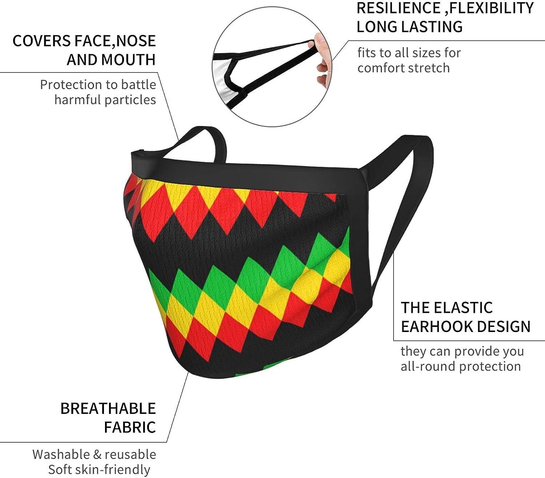 Balaclava Earmuffs Rasta Jamaica Rastafarian Royalty Pattern Face Mouth Cover Mask Reusable Dust Scarf Towel Cover Headwrap