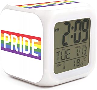 Rainbow The Gay Pride Alarm Clock Displays Time Date and Temperature Soft Nightlight for Kids Home Office Bedroom Heavy Sleepers