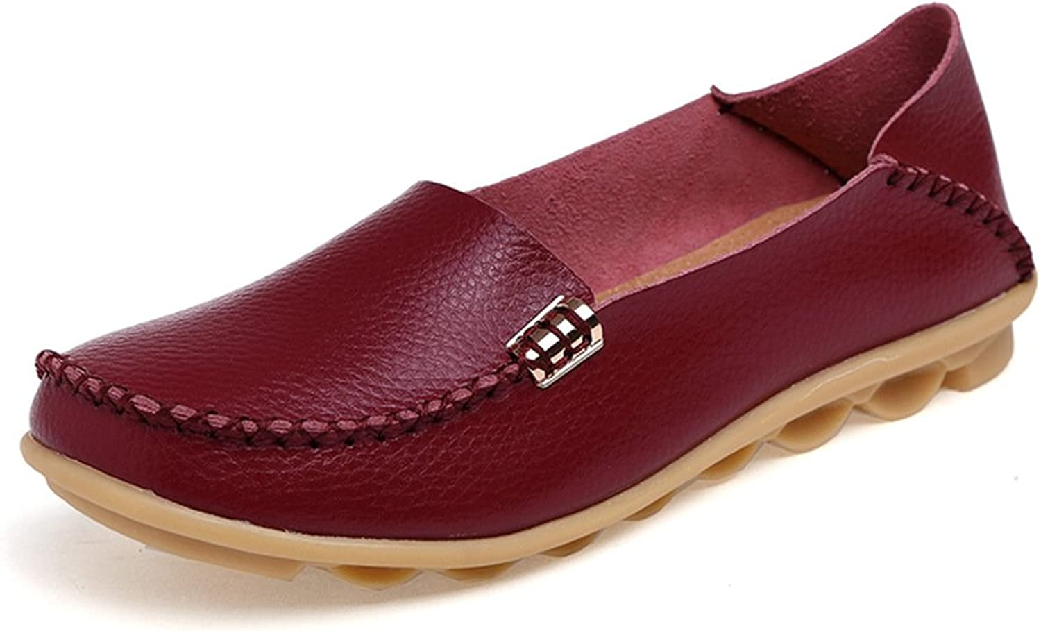 Temofon Women's Leather Loafers Flats Driving Moccasins Casual Indoor shoes Slip-On Slippers