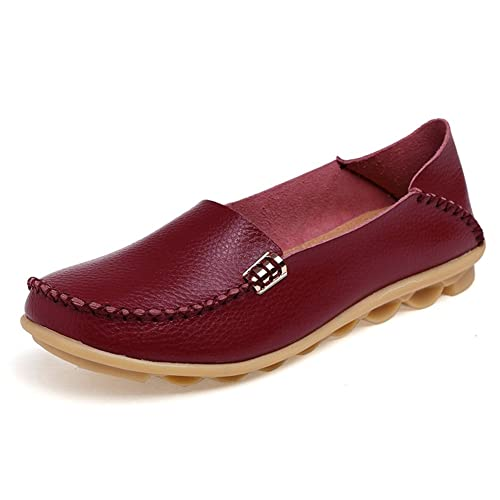 Temofon Womens Leather Loafers Casual Flats Driving Moccasins Indoor Shoes Slip-On Slippers
