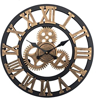 "Beauenty 15.7"" inch Classic Vintage Wall Clock ,Noiseless Silent Ticking Large 3D Retro Gear Rustic , Decorative Roman Num..."