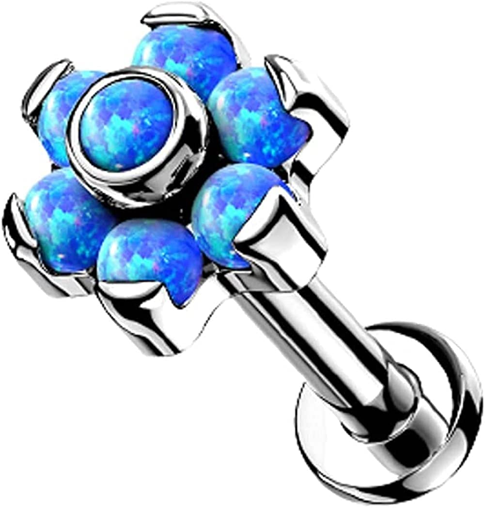 Covet Jewelry Titanium Threadless Push in Labret, Flat Back Studs with Opal Set Flower Top for Cartilage, Monroe, Chin and More