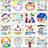 Plantillas De Dibujos Halloween,16Pcs Reutilizable Juego De Plantillas De Halloween Pintura Calabaza Bruja Calavera Araña Fantasma Para Tarjeta Bricolaje Dibujo Pared Y Vidrio Decoracion Halloween