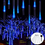 JMEXSUSS Meteor Shower Rain Lights Solar Powered Meteor Shower Lights 30cm 8 Tube 144 LEDs, Halloween Meteor Light Led Falling Rain Light(Blue)