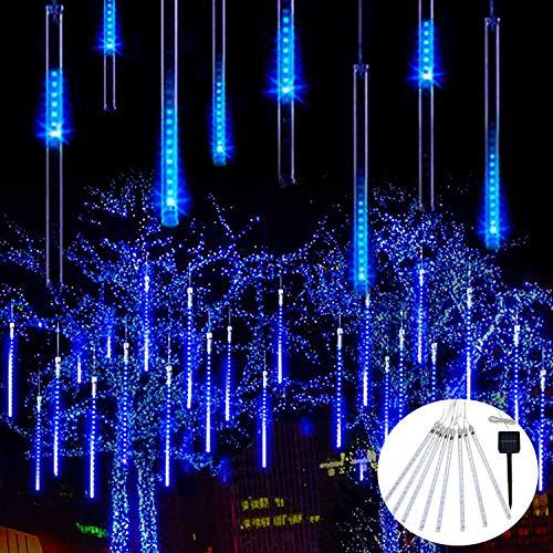 JMEXSUSS Solar Meteor Shower Rain Lights, 30cm 8 Tube 144 LEDs Blue Meteor Lights, Led Falling Rain Fairy String Lights for Xmas Tree Weeding Holiday Party Patio Decoration