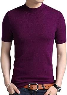 Men's Short Sleeve Crewneck Fashion Sweater Knitting Slim T-Shirt