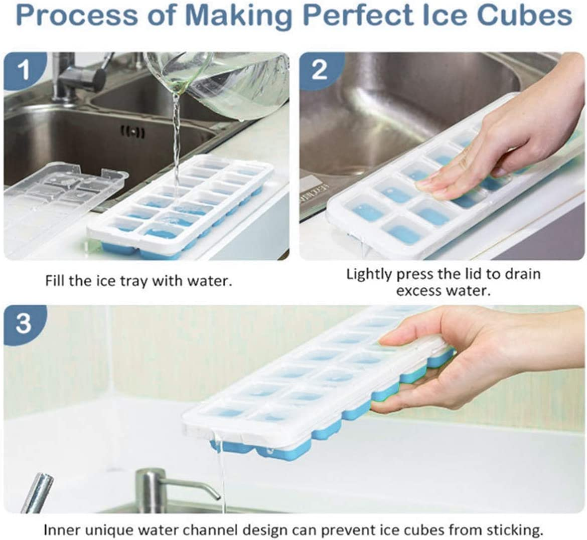 NCONCO Ice Cube Trays Easy Release Stackable Ice Tray with Lid Making 14 Ice Cubes