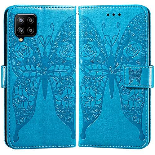 Vepbk Funda para Samsung Galaxy A42, funda de teléfono móvil con tapa, funda de piel sintética con patrón de tarjetero, billetera, funda de piel sintética, funda protectora para Galaxy A42, azul