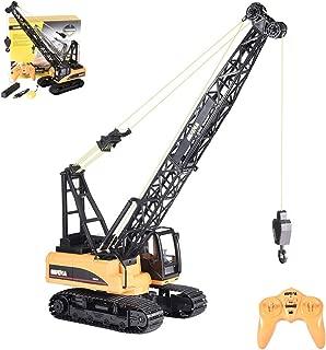 jujunshangmao RC Truck Crawler Tower Crane Hoist Dragline Die cast Model Remote Control Excavator Tractor Digging Engineering Toys Construction Vehicle (Yellow)