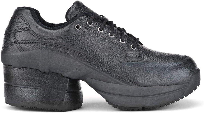 Z-CoiL Men's Legend Slip Resistant Enclosed Coil Black Leather Tennis shoes