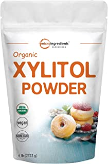 Micro Ingredients Organic Xylitol Sweetener (Xylitol Sugar Crystal Powder), 6 Pounds (96 Ounce), Natural Sweetener, 1:1 Br...