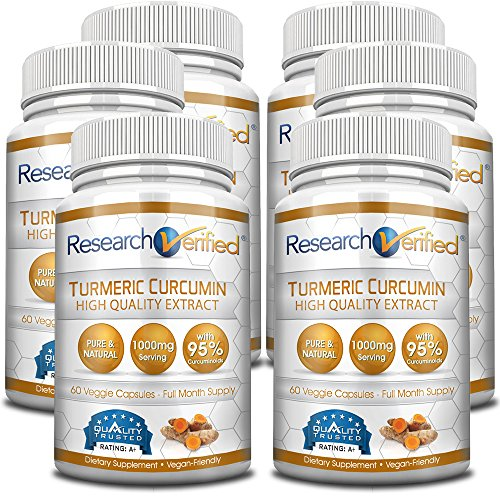Research Verified Turmeric Curcumin - Vegan with BioPerine 95% Standardized Curcuminoids - Natural Anti-Inflammatory, Antioxidant, Pain Relief and Antidepressant - 6 Bottles (6 Months Supply)