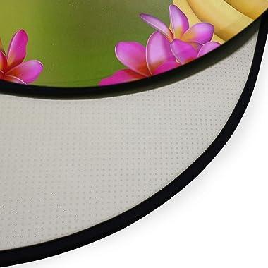 XIXIKO Tapis rond antidérapant pour chambre d'enfant Motif feuilles de noix de coco Motif feuilles tropicales
