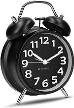 Navaris Despertador Retro de Metal - Reloj Despertador analógico con Doble Campana - Despertador Vintage con luz Nocturna y Alarma de Color Negro