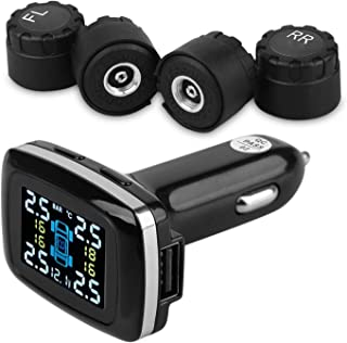 INFITARY TPMS Car Tire Pressure Monitoring System Real-time Cigarette Lighter USB Automobile Tire Pressure Gauge Wireless Wheel Temperature Battery Voltage Alarm Motor Vehicle TPMS 4 External Sensor