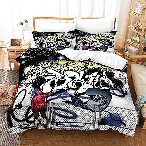 Bedclothes-Blanket Juego de Cama 150,3D de impresión de Tres Piezas Conjuntos de Almohada Conjuntos de Almohada Hip Hop Tenden Graffiti-4_260 * 220cm