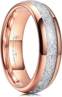 THREE KEYS JEWELRY 6mm 8mm Tungsten Wedding Ring Imitated Meteorite Inlay Rose Gold Brushed/Polished Band