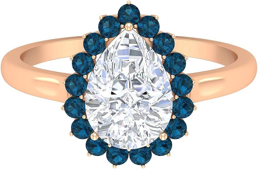 1.9 CT Pear Shape Moissanite Ring, D-VSSI Solitaire Moissanite Ring, London Blue Topaz Ring, Halo Engagement Ring, Bridal Wedding Ring, 14K Gold