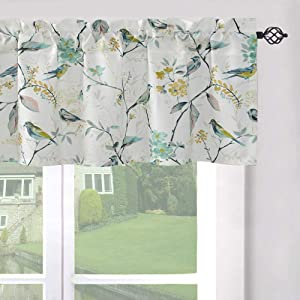 LEEVA Windows Valances for Bathroom, Birds Garden Print Pattern Thermal Insulated Short Curtains for Bedroom Kitchen, 52x12, Green, One Panel