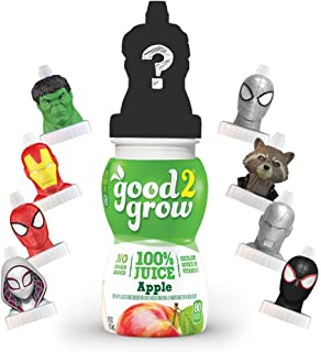 good2grow Avengers Collector Pack 100% Apple Juice, 6-pack of 6-Ounce Spill Proof Character Top Bottles, Non-GMO with no S...
