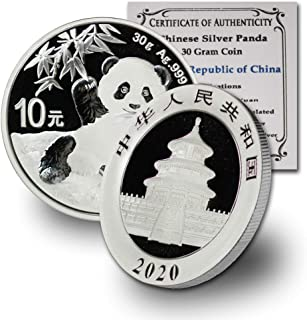 2020 CN China 30 gram Silver Panda BU (In Capsule) w/COA by CoinFolio Silver Brilliant Uncirculated