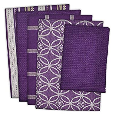 DII Cotton Oversized Kitchen Dish Towels 18 x 28 and Dishcloth 13 x 13, Set of 5, Absorbent Washing Drying Dishtowels for Everyday Cooking and Baking-Eggplant