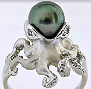 Finemall Women Retro 925 Silver Green Pearl Octopus Rings Wedding Engagement Anniversary Size 6-10 and 100% Brand New (US 6)