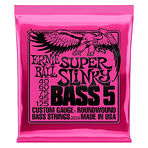 Ernie Ball Super Slinky - Cuerdas para bajo eléctrico, 5 cuerdas, níquel - 40-125