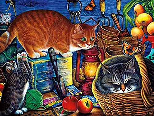 Adult 1000 Piece Jigsaw Potting Shed Cats DIY Kit Wooden Puzzle Modern Home Decor Boys Girls Gift 75×50 cm