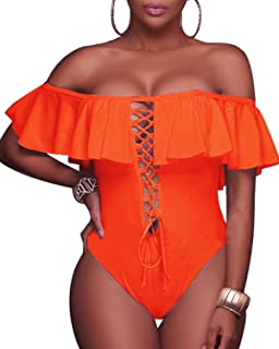 1c07537f5c Tempt Me Women Sexy One Piece Swimsuits Lace Up Ruffled Off Shoulder  Flounce Monokini Bathing Suits