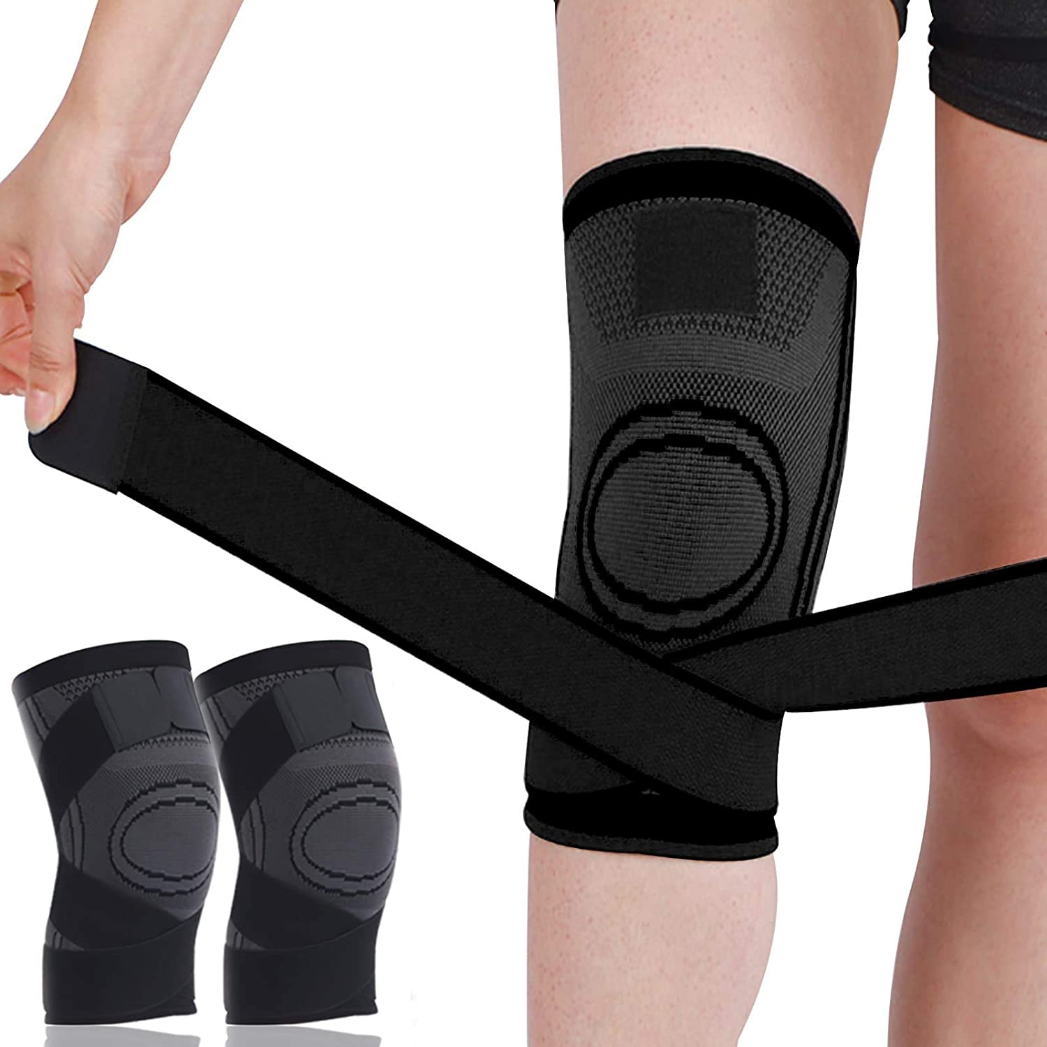 Support-Protector Knee Sleeve Weightlifting Knee Pain Relief Breathable Non-slip Elastic Blend 2 Pack Compression Knee Brace For Men//Women Knee Support-copper For Running
