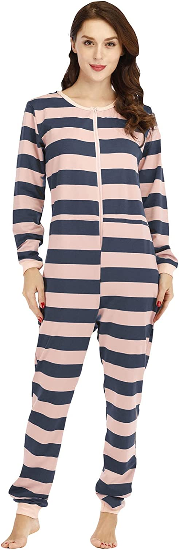 Misaky Women's Zipper Pajamas Hooded Jumpsuit Onesies Fleece Pajama Long Pants Sleepwear Plush Sleepwear