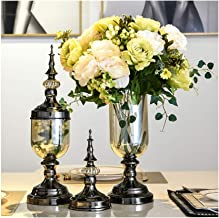 Flowers Vase Silk Artificial Bouquet Luxury Black with Cover Family Balcony Flower Container Set (1 Set 2 Pieces) Flower B...