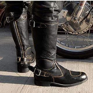 GJHYJK Hommes Femmes Bottes de Motard Grande Taille Boucle de Ceinture Western Cowboy Boot Hiver Genou Bottes d'équitation...