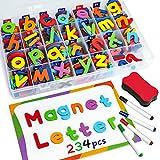 Coogam Magnetic Letters Numbers 234 Pcs , Uppercase Lowercase Foam Alphabet ABC 123 Fridge Magnets,...