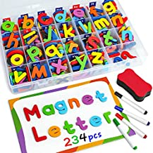 Coogam Magnetic Letters Numbers 234 Pcs , Uppercase Lowercase Foam Alphabet ABC 123 Fridge Magnets, Educational Toy Set for Classroom Kids Learning Spelling with Magnetic Board and Storage Box